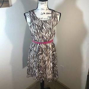 Pinky Zebra Print Midi Dress Junior XL 16